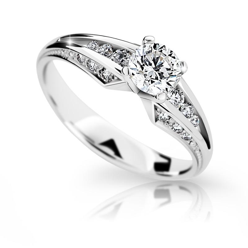 Danfil Zlatý zásnubní prsten DF 2103, bílé zlato, s diamantem