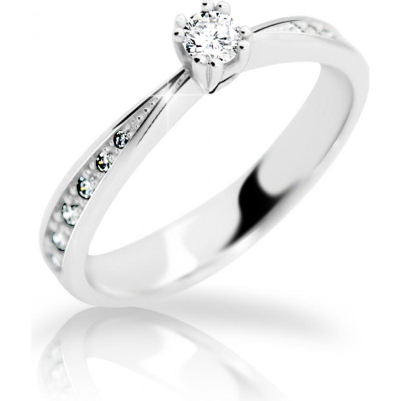 Danfil Zlatý zásnubní prsten DF 2123, bílé zlato, s briliantem