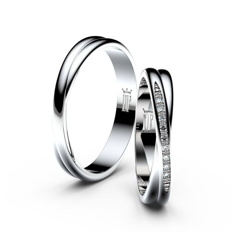 Snubní prsteny ze stříbra s brilianty, pár - 3019