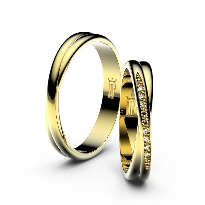 Snubní prsteny ze žlutého zlata s brilianty, pár - 3019