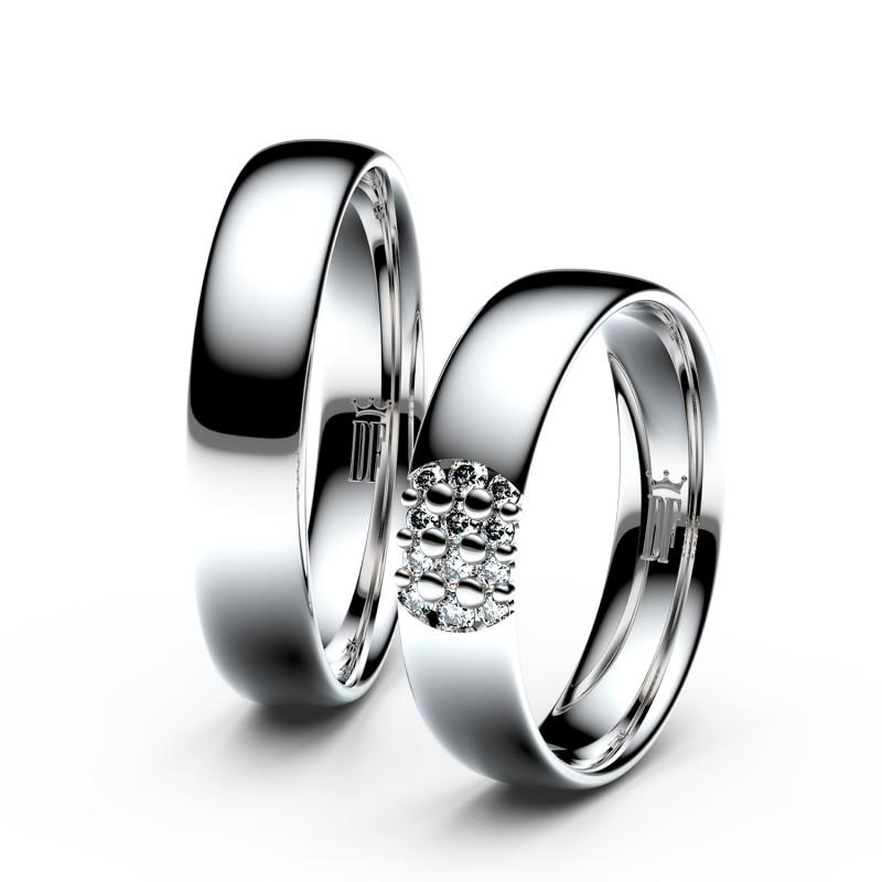 Snubní prsteny ze stříbra s brilianty, pár - 3021