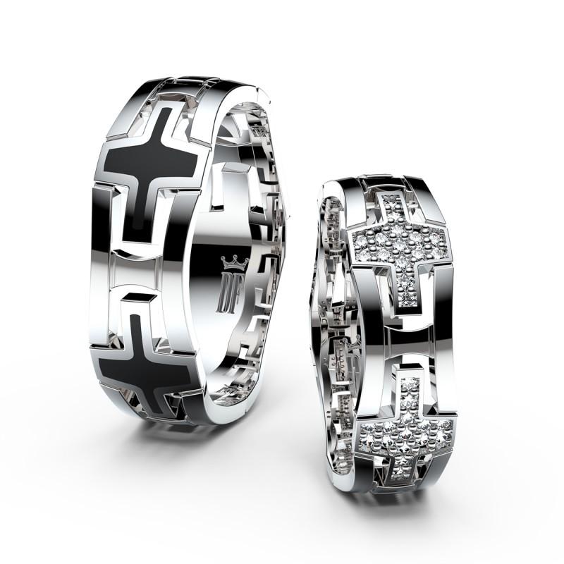 Snubní prsteny ze stříbra s brilianty, pár - 3042
