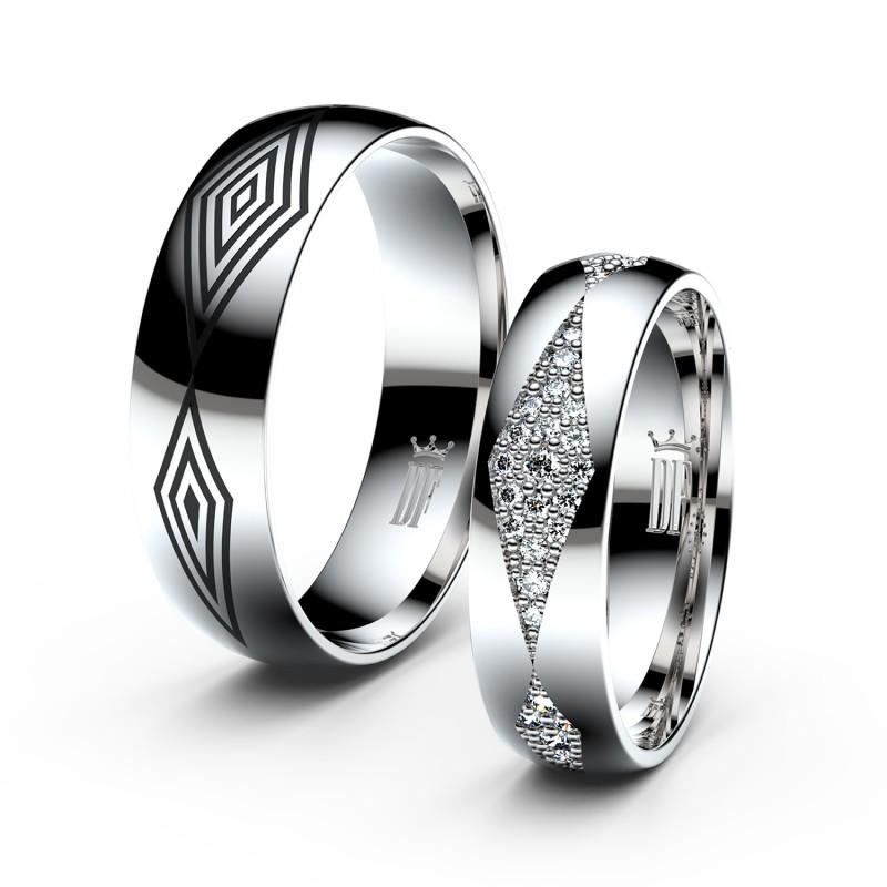 Snubní prsteny ze stříbra s brilianty, pár - 3074