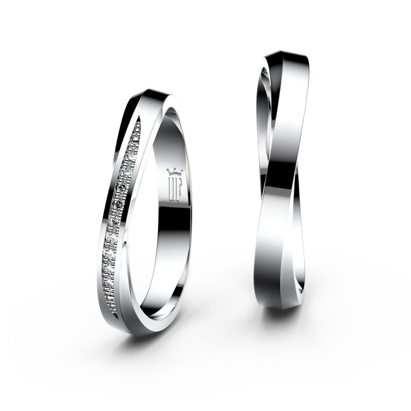 Snubní prsteny z bílého zlata se zirkony, pár - 3017