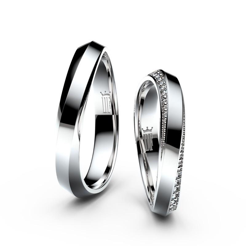 Snubní prsteny z bílého zlata se zirkony, pár - 3023