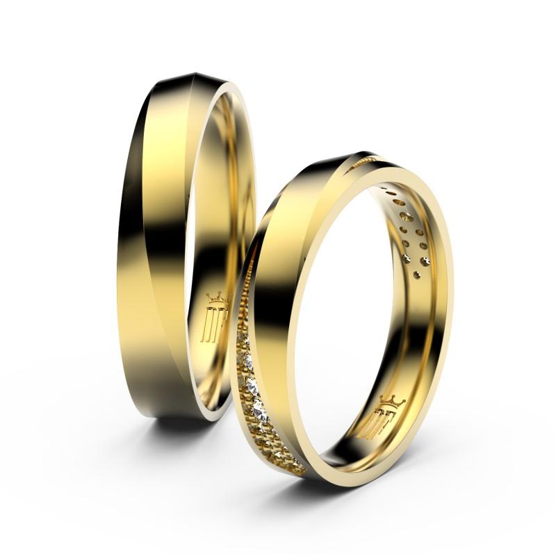 Snubní prsteny ze žlutého zlata se zirkony, pár - 3025