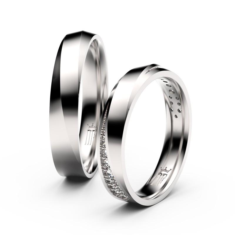 Snubní prsteny z bílého zlata se zirkony, pár - 3025