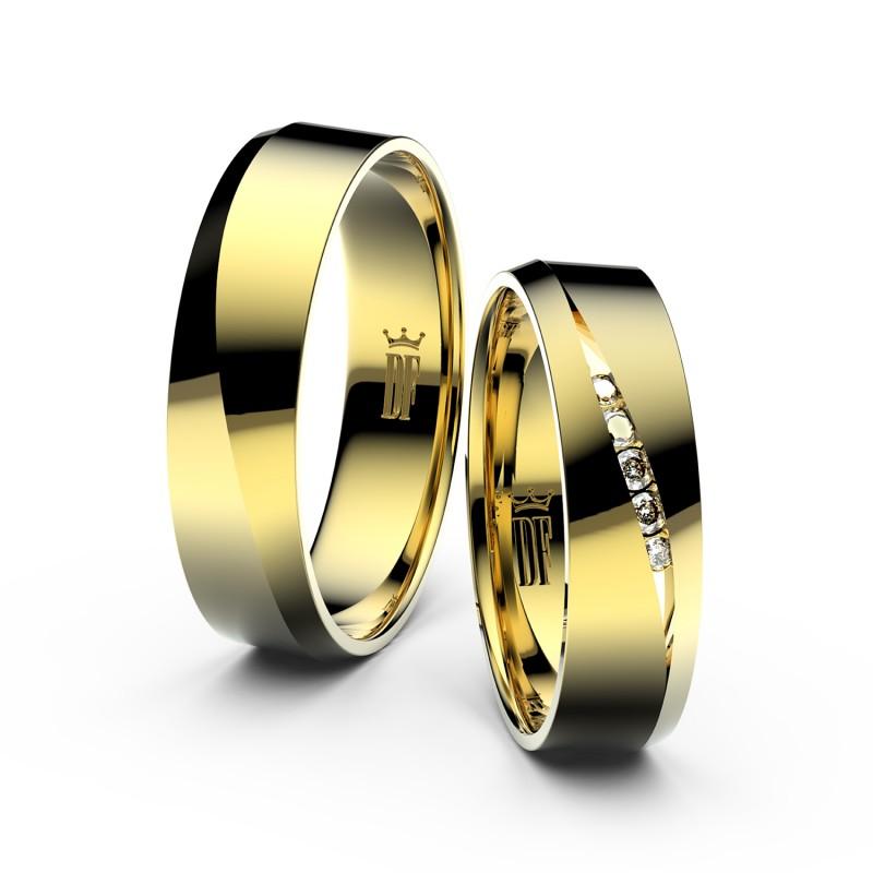 Snubní prsteny ze žlutého zlata se zirkony, pár 3034