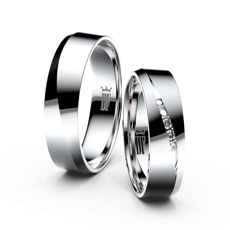 Snubní prsteny z bílého zlata se zirkony, pár - 3034
