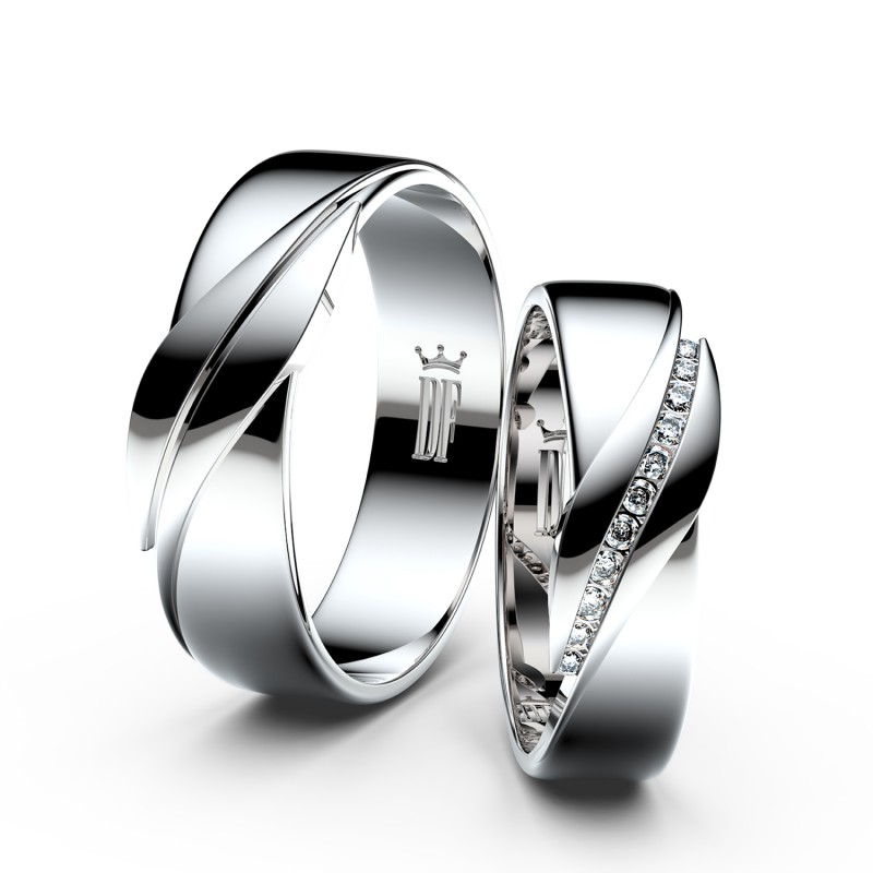 Snubní prsteny z bílého zlata se zirkony, pár - 3039
