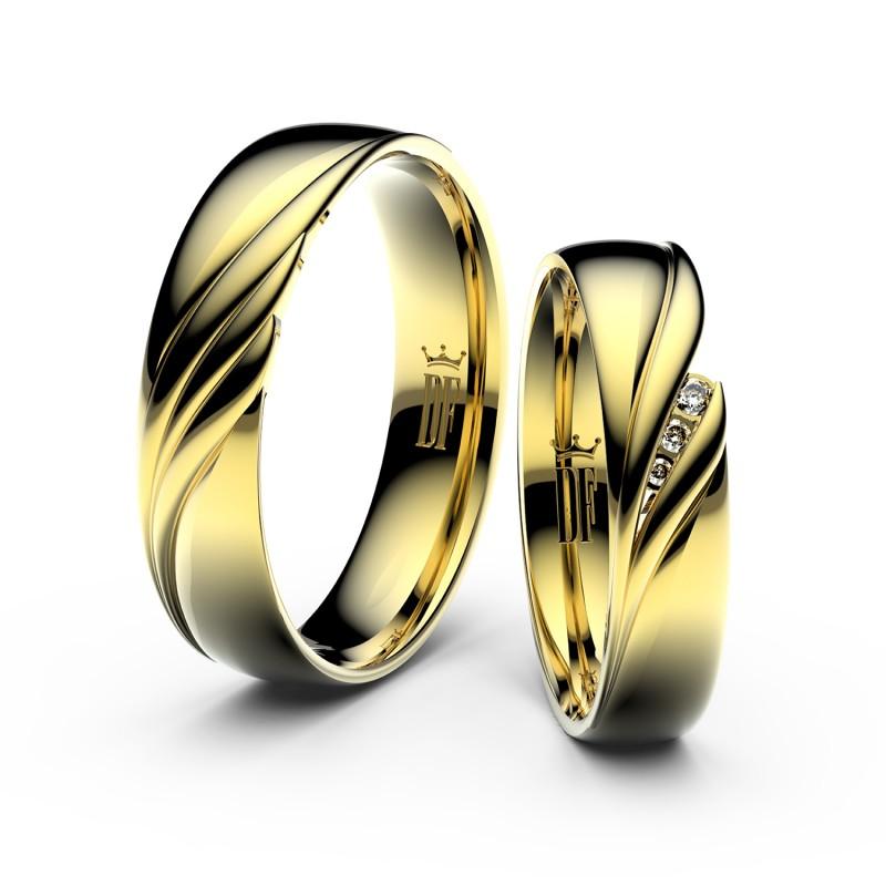 Snubní prsteny ze žlutého zlata se zirkony, pár - 3044