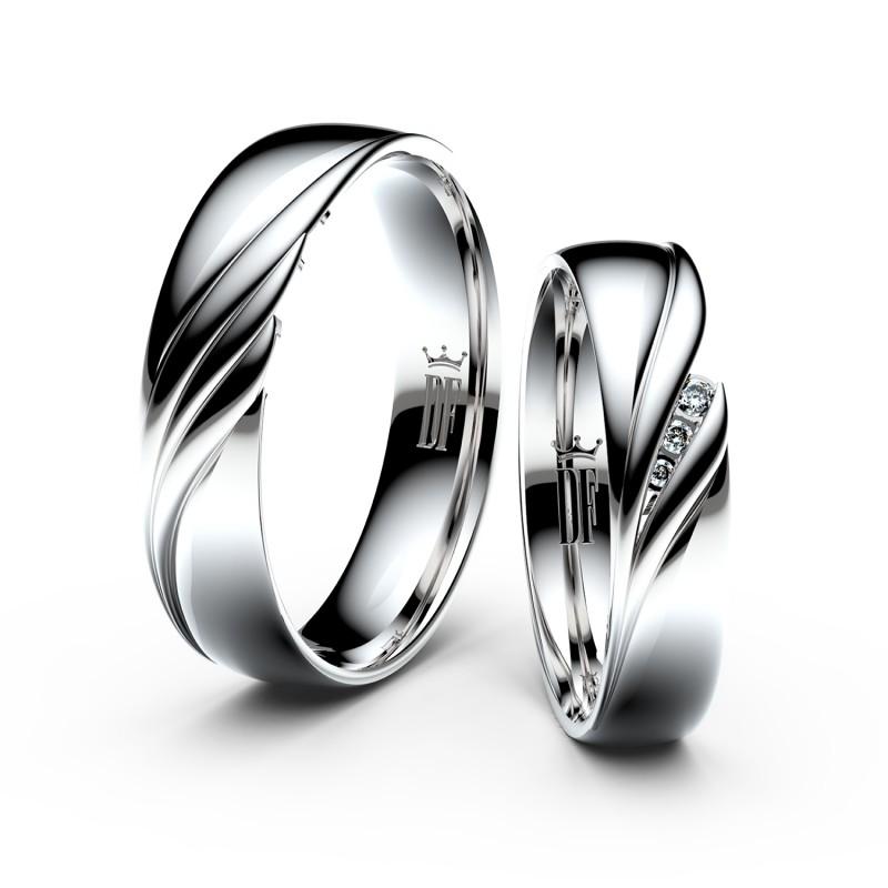 Snubní prsteny z bílého zlata se zirkony, pár - 3044