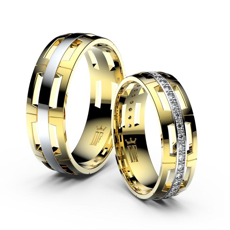 Snubní prsteny ze žlutého zlata se zirkony, pár - 3048