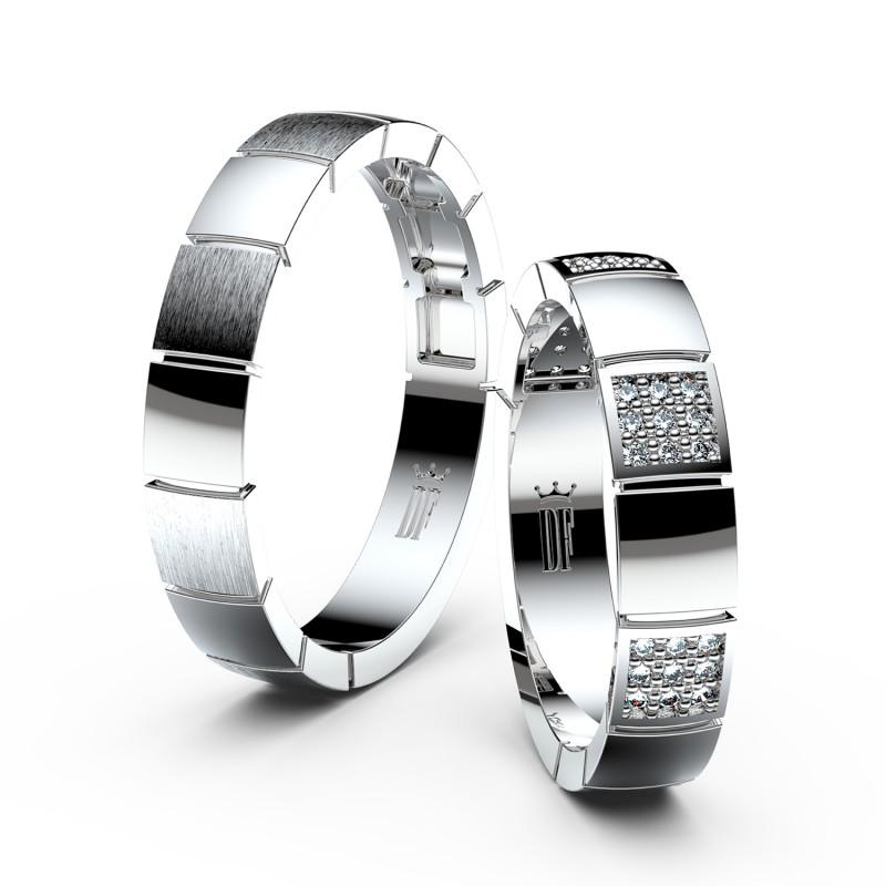 Snubní prsteny z bílého zlata se zirkony, pár - 3057