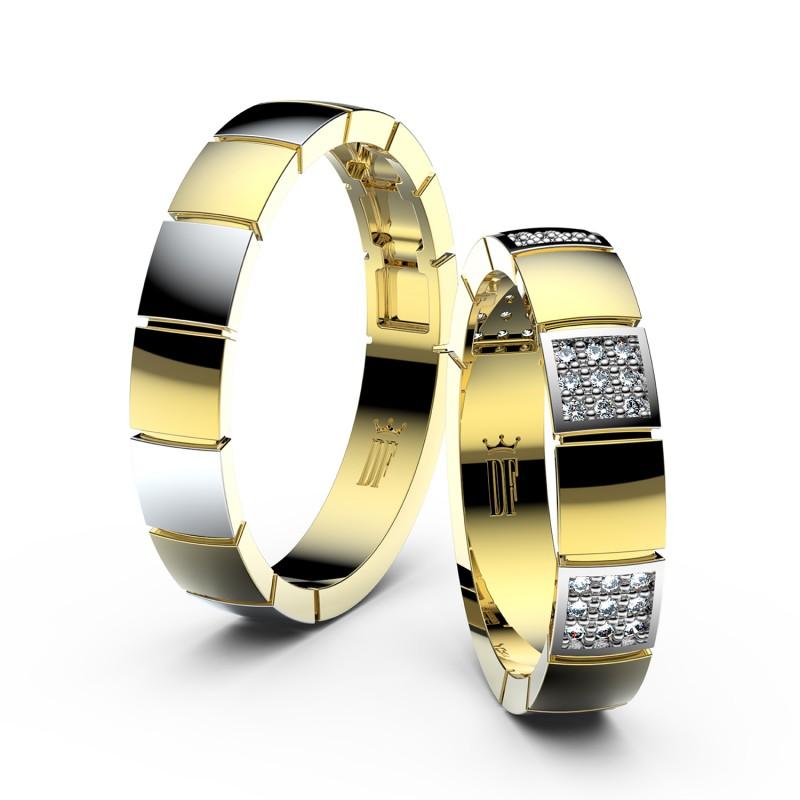 Snubní prsteny ze žlutého zlata se zirkony, pár - 3057