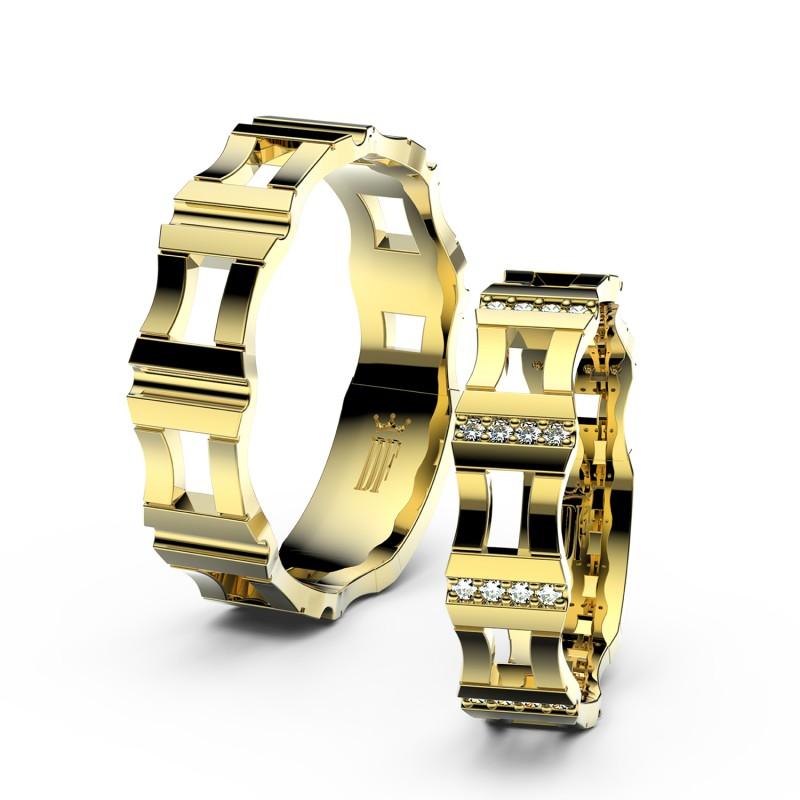 Snubní prsteny ze žlutého zlata se zirkony, pár - 3084