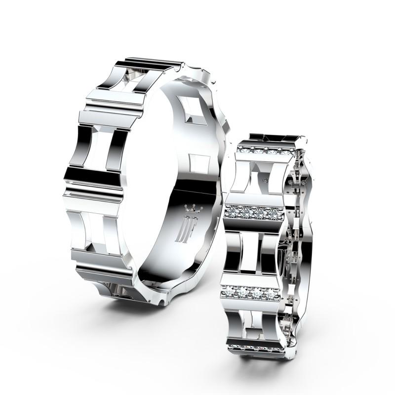 Snubní prsteny z bílého zlata se zirkony, pár - 3084