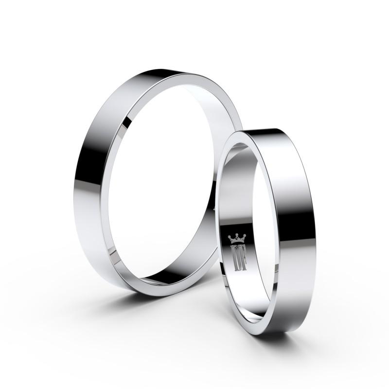 Snubní prsteny z bílého zlata, 3.5 mm, plochý, pár - 1G35