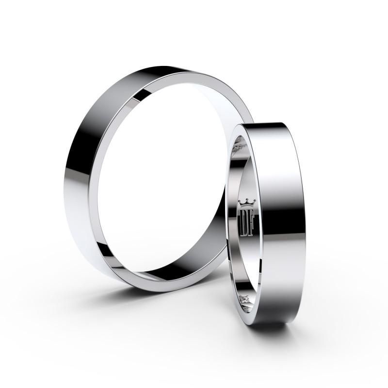 Snubní prsteny ze stříbra, 4 mm, plochý, pár - 1G40