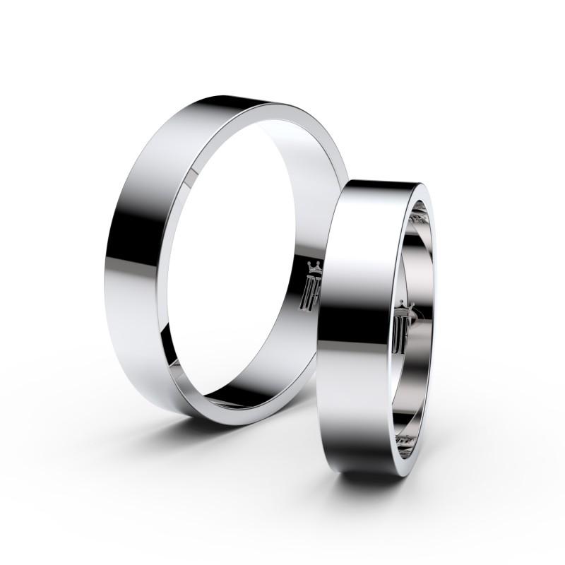 Snubní prsteny ze stříbra, 4.5 mm, plochý, pár - 1G45