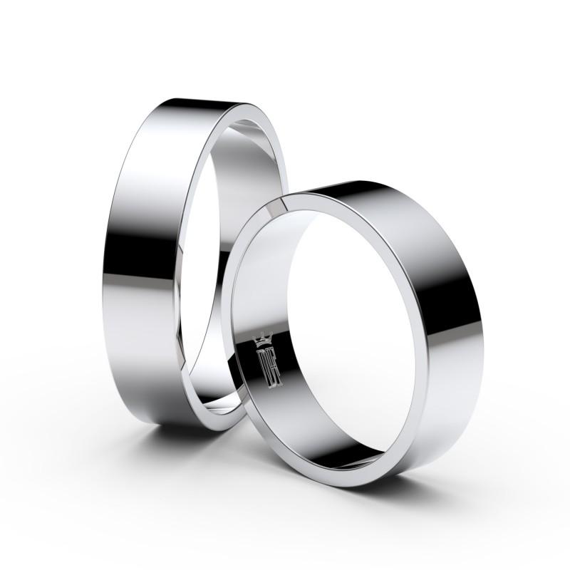 Snubní prsteny ze stříbra, 5 mm, plochý, pár - 1G50