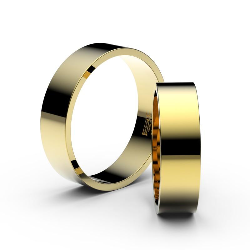 Snubní prsteny ze žlutého zlata, 5.5 mm, plochý, pár - 1G55