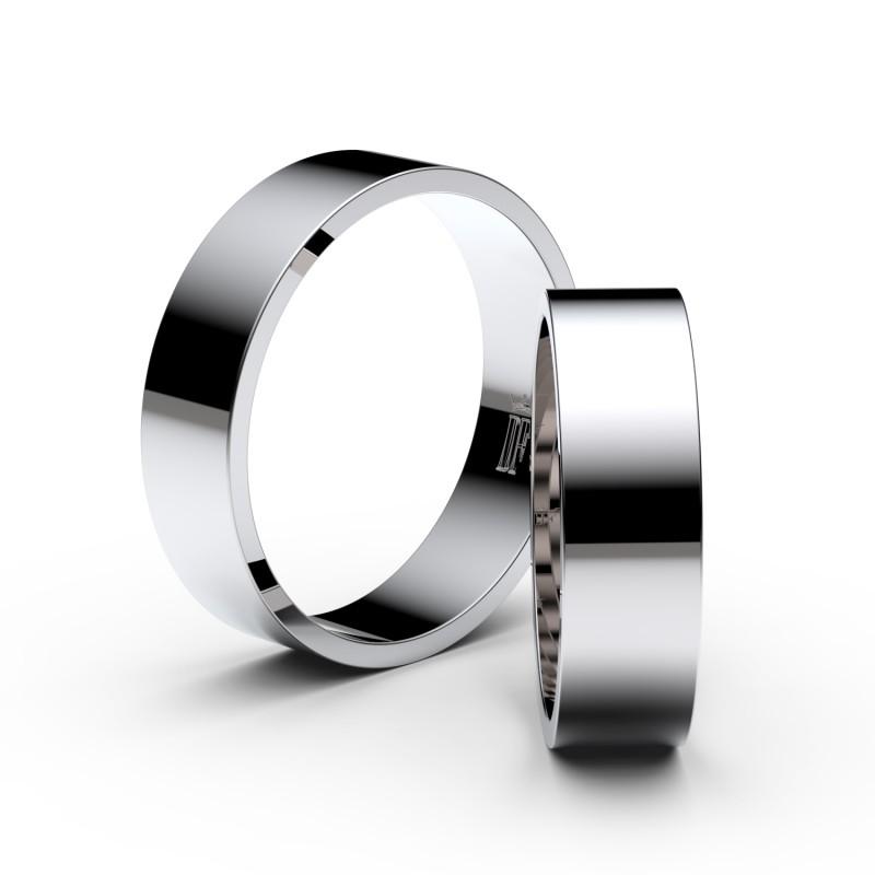 Snubní prsteny z bílého zlata, 5.5 mm, plochý, pár - 1G55