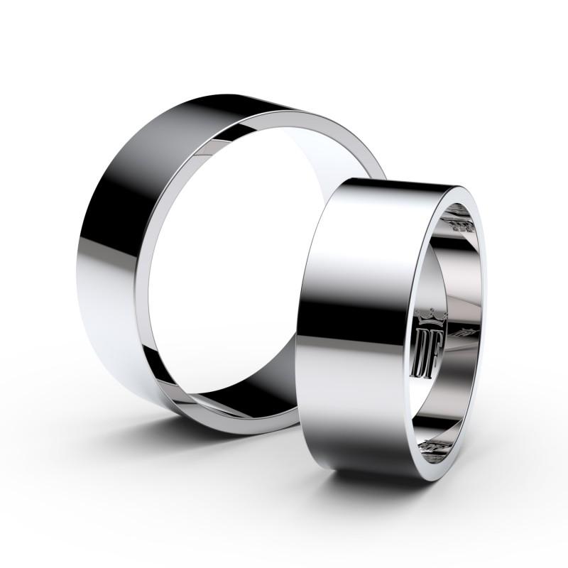 Snubní prsteny ze stříbra, 7 mm, plochý, pár - 1G70