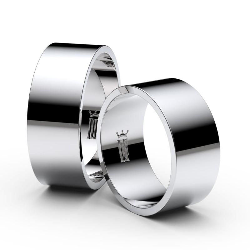 Snubní prsteny ze stříbra, 8 mm, plochý, pár - 1G80