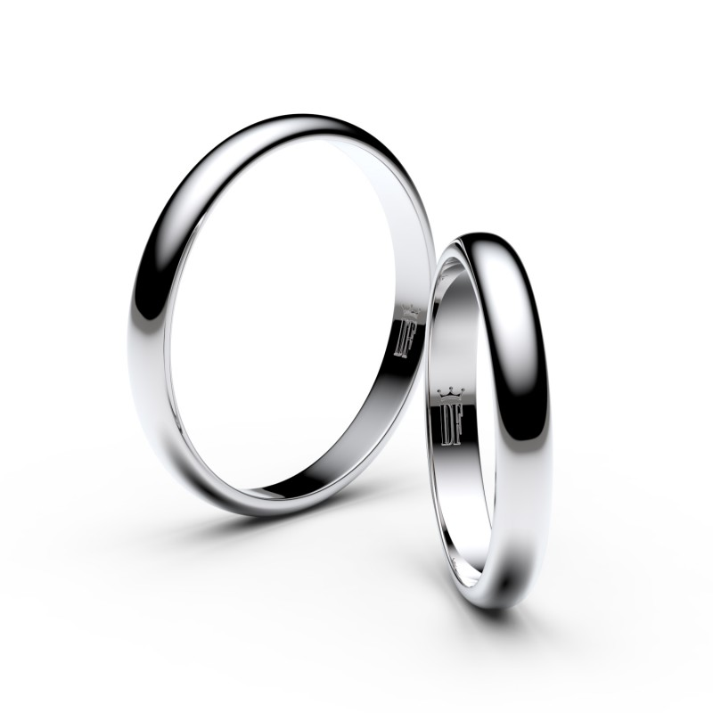Snubní prsteny ze stříbra, 3 mm, půlkulatý, pár - 2A30