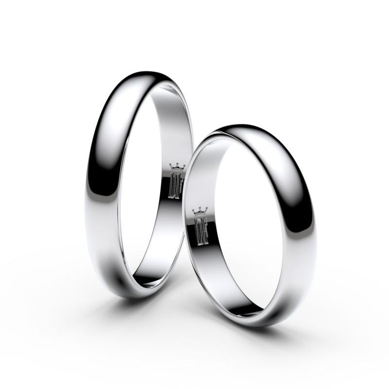 Snubní prsteny z bílého zlata, 3.5 mm, půlkulatý, pár - 2B35