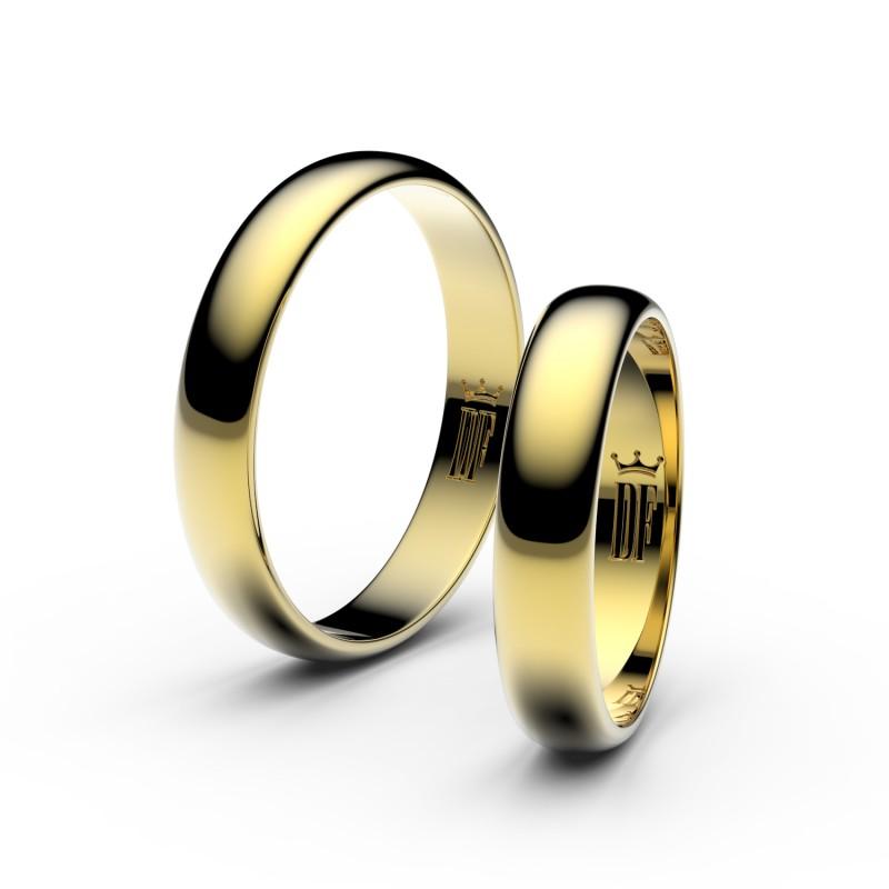 Snubní prsteny ze žlutého zlata, 4 mm, půlkulatý, pár - 2D40
