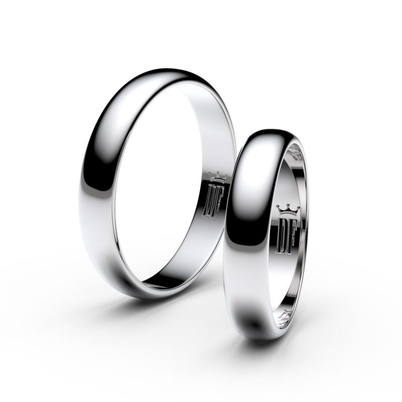 Snubní prsteny z bílého zlata, 4 mm, půlkulatý, pár - 2C40