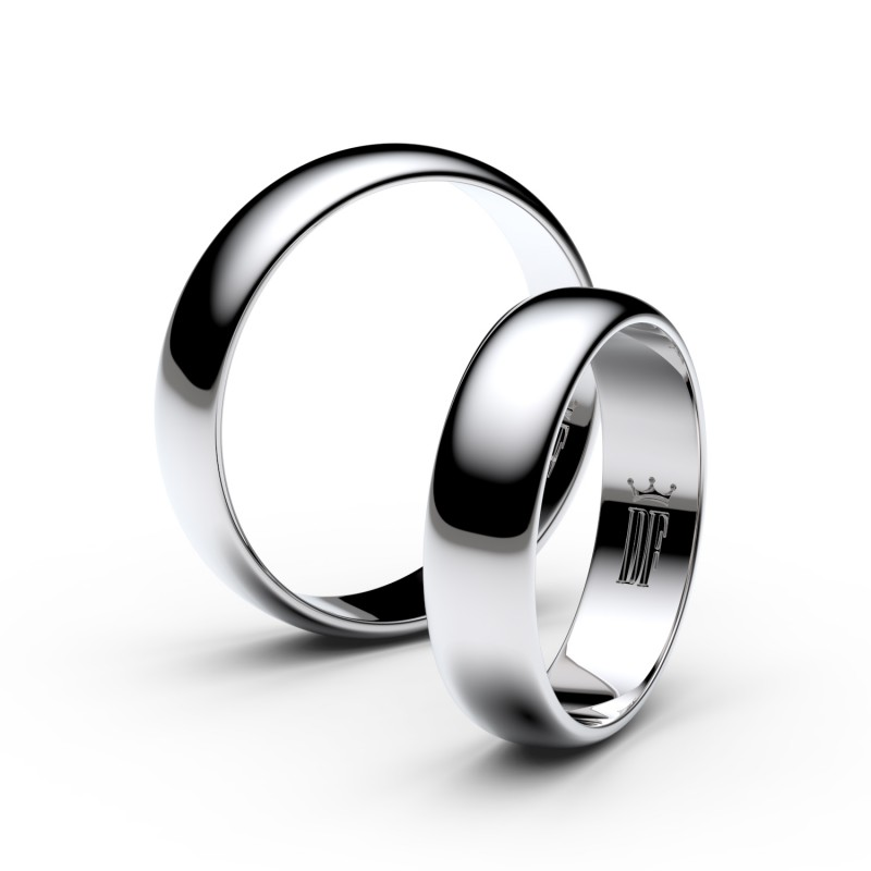 Snubní prsteny ze stříbra, 4.7 mm, půlkulatý, pár - 2E50