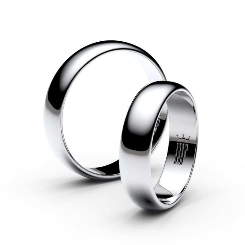 Snubní prsteny z bílého zlata, 4.7 mm, půlkulatý, pár - 2E50