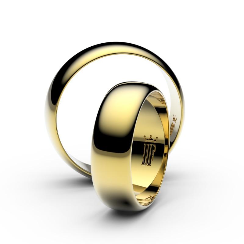 Snubní prsteny ze žlutého zlata, 6 mm, půlkulatý, pár - 3A60