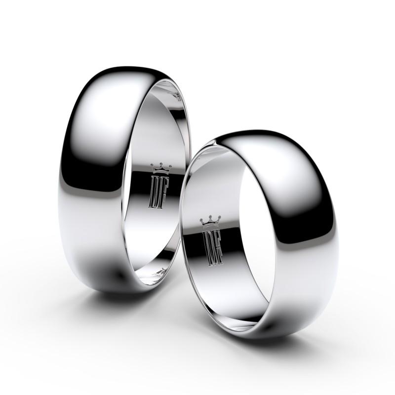 Snubní prsteny ze stříbra, 6.5 mm, půlkulatý, pár - 3B65