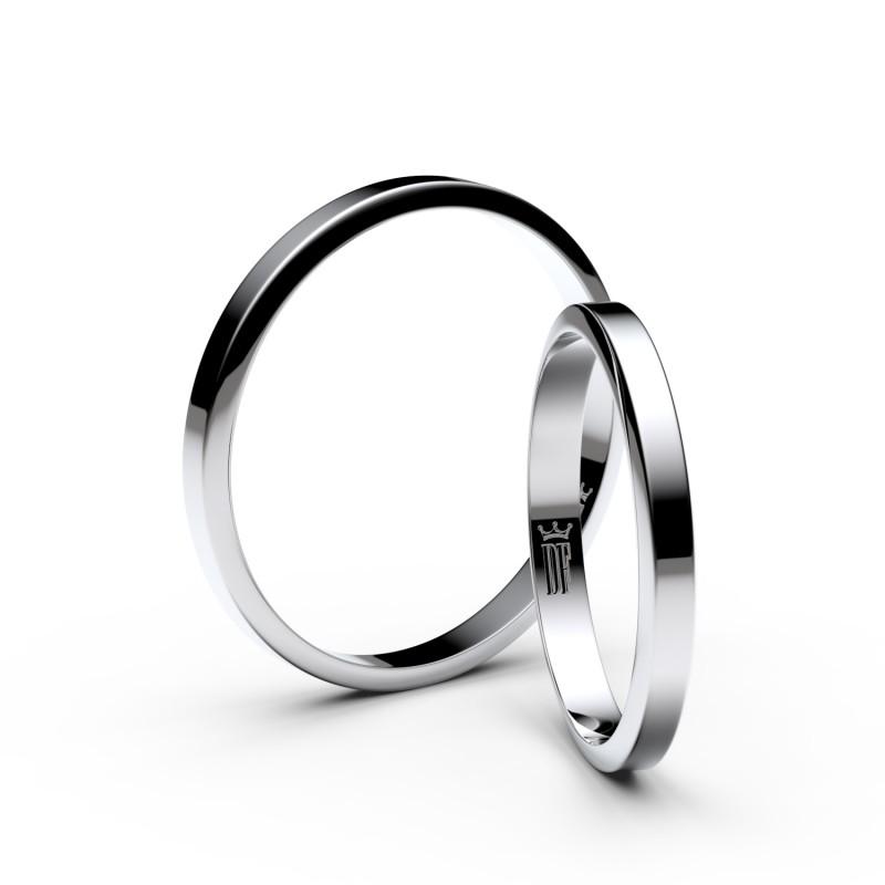 Snubní prsteny z bílého zlata, 2.3 mm, lichoběžný, pár - 4A25