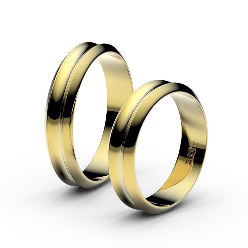 Snubní prsteny ze žlutého zlata, 4.8 mm, konkávní, pár - 4B45