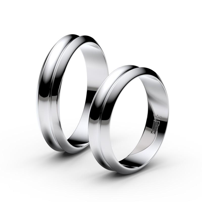 Snubní prsteny z bílého zlata, 4.8 mm, konkávní, pár - 4B45