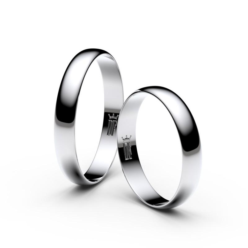 Snubní prsteny z bílého zlata, 3.4 mm, půlkulatý, pár - 4C35