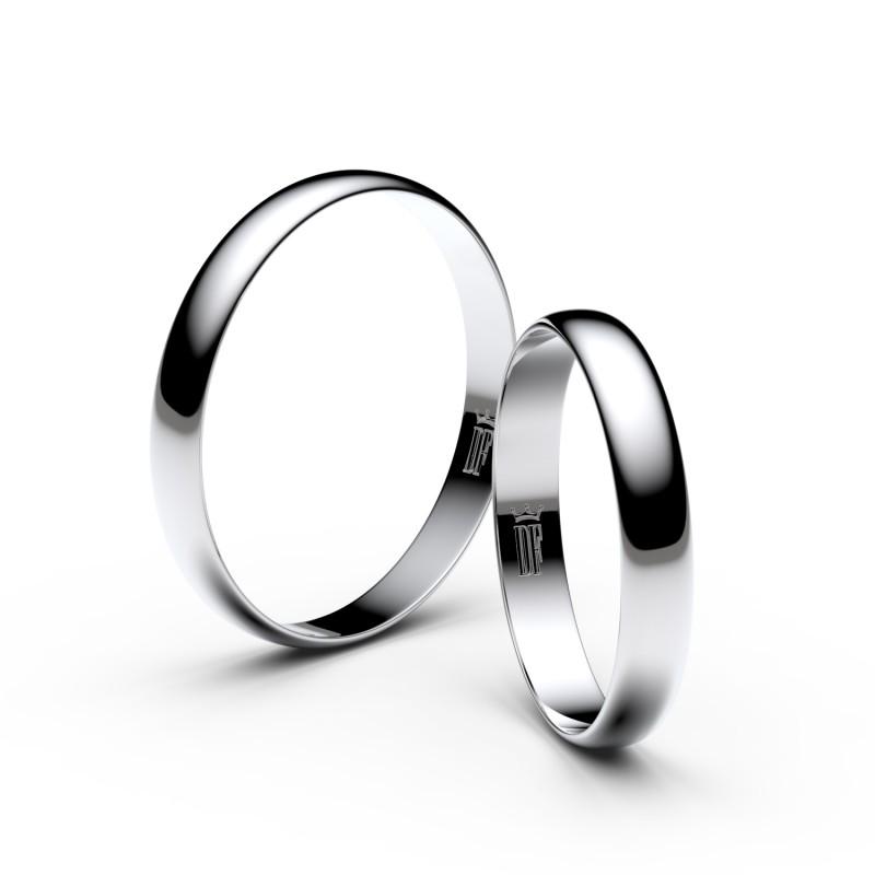 Snubní prsteny z bílého zlata, 3 mm, půlkulatý, pár - 4D30