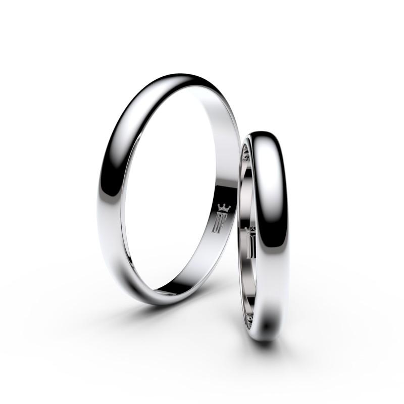 Snubní prsteny z bílého zlata, 2.9 mm, půlkulatý, pár - 4F30