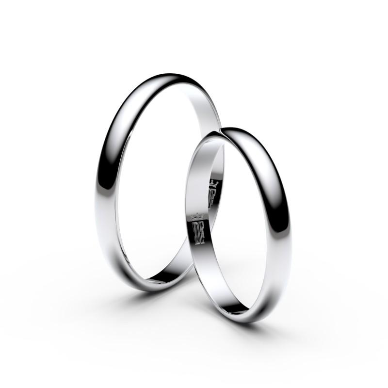 Snubní prsteny ze stříbra, 2.5 mm, půlkulatý, pár - 4G25