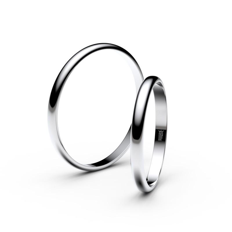 Snubní prsteny ze stříbra, 2 mm, půlkulatý, pár - 4H20