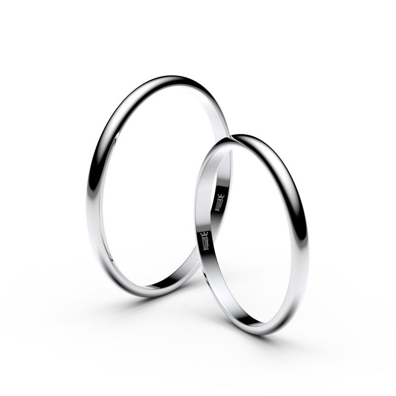 Snubní prsteny ze stříbra, 1.7 mm, půlkulatý, pár - 4I17