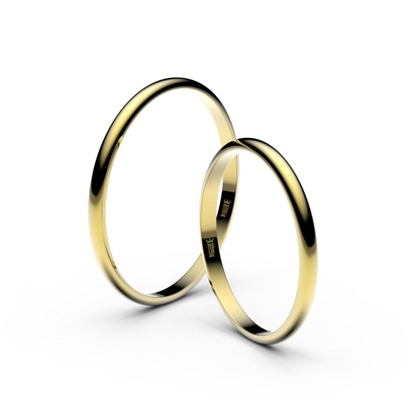 Snubní prsteny ze žlutého zlata, 1.7 mm, půlkulatý, pár - 4I17
