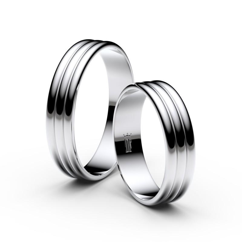 Snubní prsteny z bílého zlata, 4.7 mm, trojvlnný, pár - 4J47