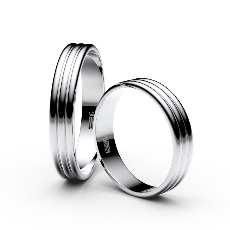 Snubní prsteny ze stříbra, 4 mm, trojvlnný, pár - 4K37