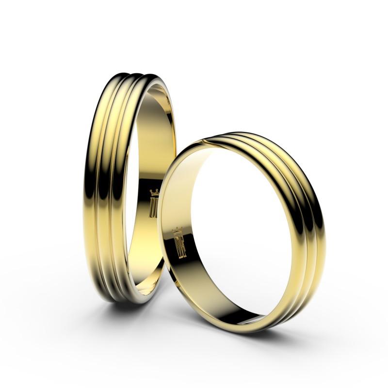 Snubní prsteny ze žlutého zlata, 4 mm, trojvlnný, pár - 4K37